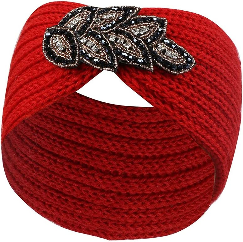 2pcs Women Winter Headband Knitted Hair Line Hairstyle Sports Headband Handmade Head Package Woven Warm Accessories (Color : Red)