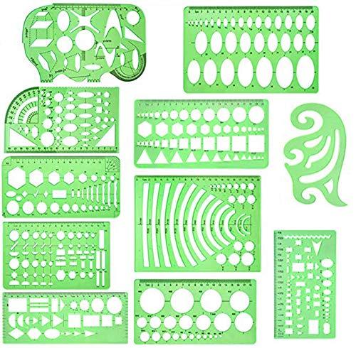 11 Pieces Plastic Geometric Sten...
