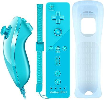 COOLEAD 2 en 1 Motion Plus Mando a Distancia y Nunchuck para Nintendo Wii y Wii U Control Remoto Motion Plus y Nunchunk con Funda de Silicona y Muñequera