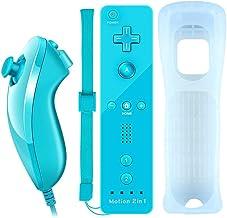 COOLEAD 2 en 1 Motion Plus Mando a Distancia y Nunchuk para Wii y Wii U Control Remoto Motion Plus y Nunchunk con Funda de Silicona y Muñequera (Producto de Terceros)