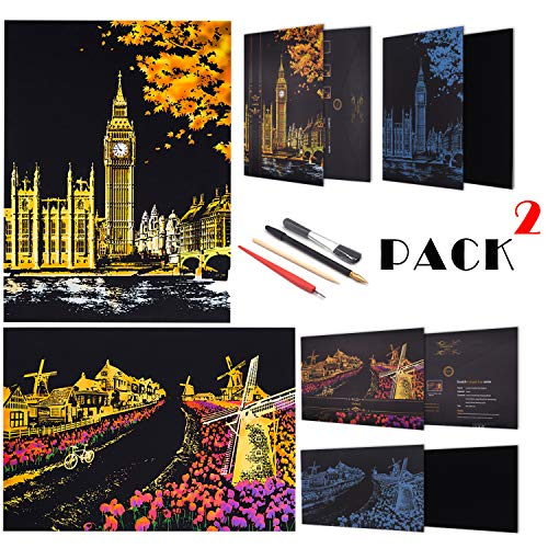 SiYear Scratch Paper Regenbogen Gemälde Skizze, City Series Night Scene, Scratch Painting kreative Geschenk, Scratchboard für Erwachsene und Kinder, mit 4 Tools (holländische Windmühle, Big Ben)