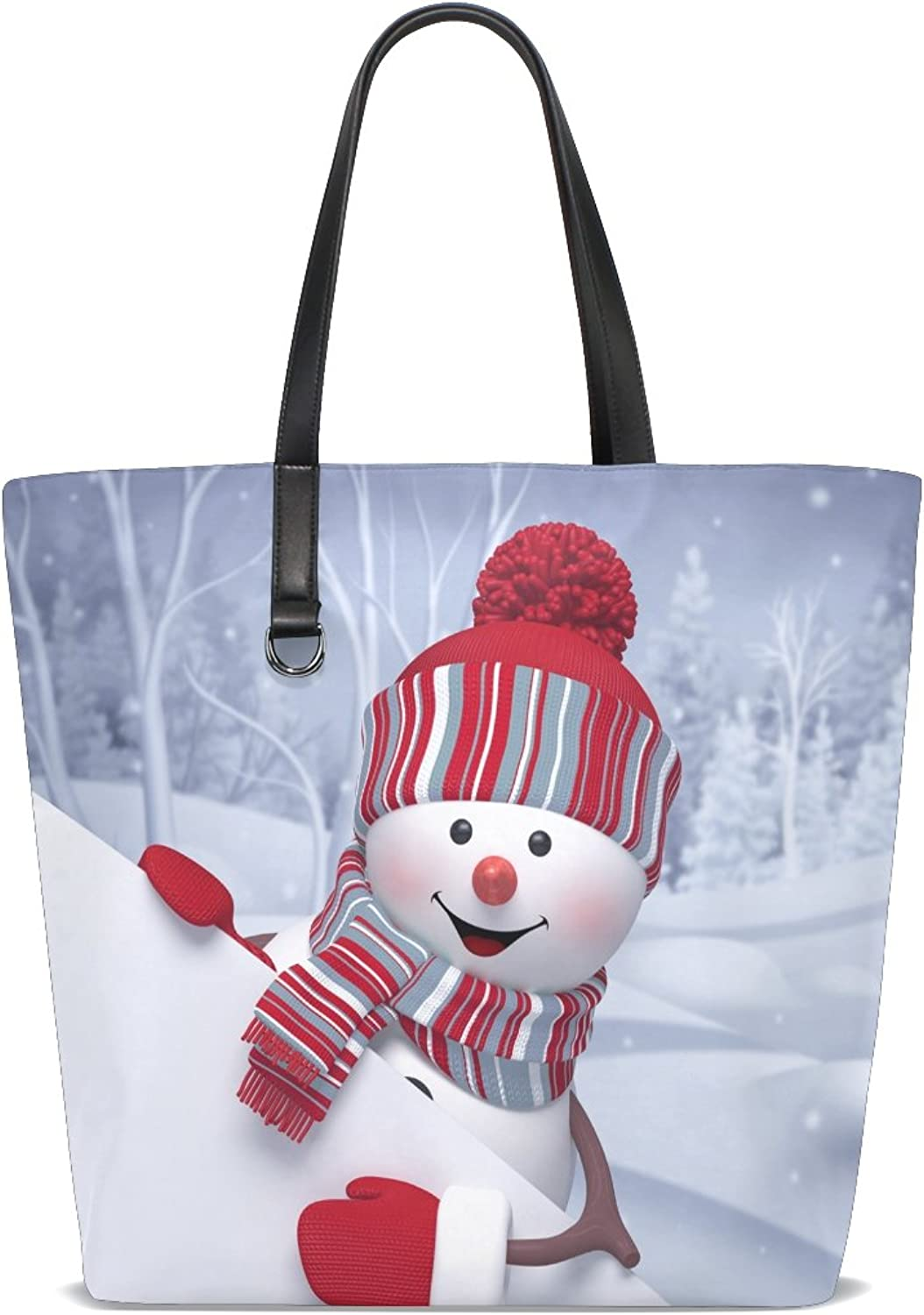 Women's Tote,Cicily Christmas Snowman Cute Stylish Lady Handbags Shoulder Bags for Teen Girls Portable bags for Shopping Washable