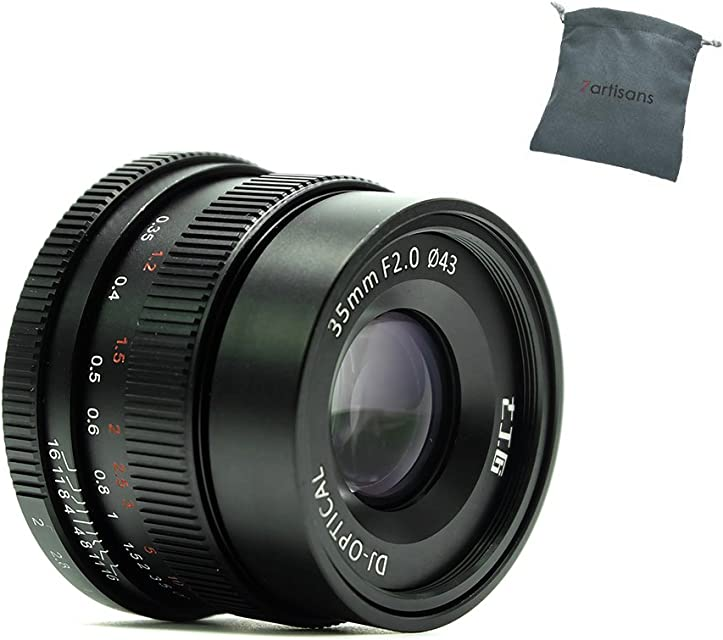 7artisans 35mm F2.0 Full Frame Manual Focus Prime Fixed Lens for Sony E-Mount Cameras - Black