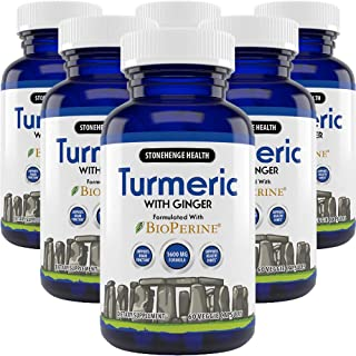 Stonehenge Health Turmeric Curcumin with Ginger - Highest Potency Available. 1,600 mg Turmeric with 95% Curcuminoids & BioPerine®. Supports Joint Pain & Inflammation, 60 Vegetarian Capsules (3 Pack)