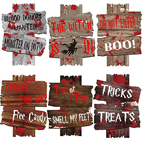 Sayala Decoraciones para Exteriores de Halloween,6 Piezas Ser Ware Carteles de Corrugado Fantasma con estaca, decoración Divertida de plástico para Fiesta de Truco o Trato
