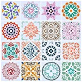 "【16 Kinds Different Designs】Our mandala stencil set has 16 kinds of different designs to meet your painting needs. Perfect size about 5.9""x5.9"" (15cm x 15cm), the mandala stencil templates set is very portable and lightweight for you to carry on. 【St..."