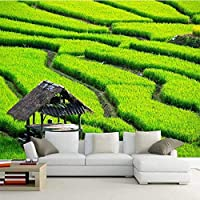 カスタム壁画3D壁紙緑の風景テレビ壁リビングルーム寝室壁画写真壁紙装飾アートフレスコ画-130x60cm