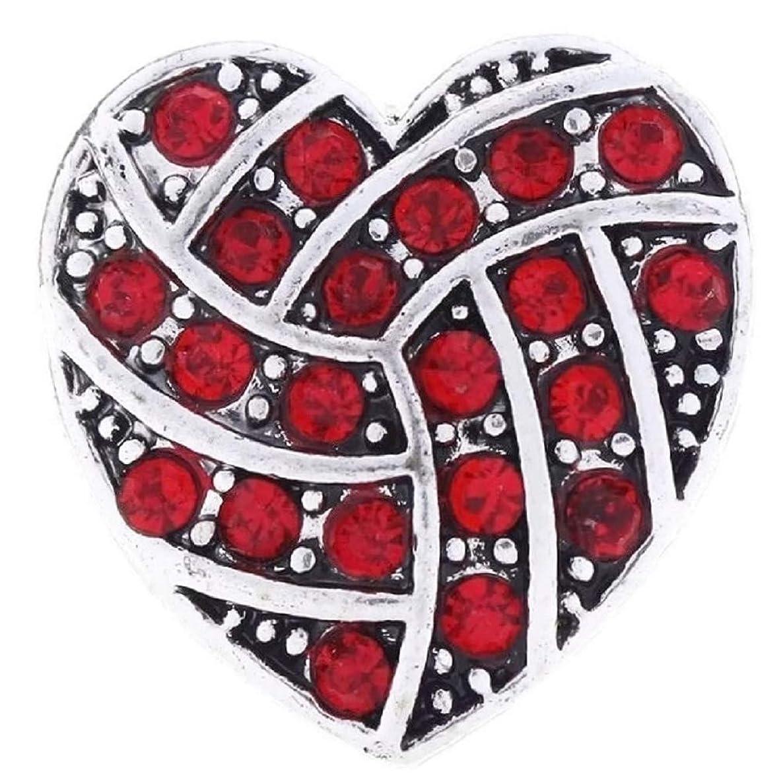 Pizazz Studios Red Rhinestone Heart Snap Charm 3/4 Inch