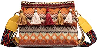 Fanspack Womens Shoulder Purse Ethnic Style Bag Tassel Decor Crossbody Bucket Bag