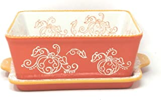 Temp-tations 8x8 Brownie Baker w/Lid-It (Tray) 1.5 Qt Square Casserole Dish (Floral Lace Pumpkin)