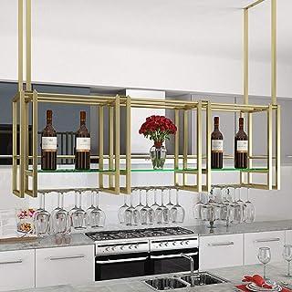 YZ-YUAN Supports à vin de Plafond durables pour passionnés de vin avec Compartiment en Verre Organisateur de Bouteilles en...