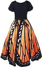 HHmei Fashion Women Casual Lace Up O-Neck Butterflies Print Short Sleeve Swing Dress