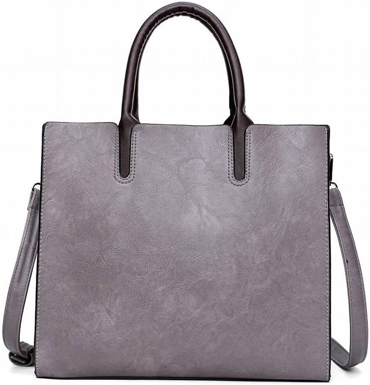 YTTY High-Grade Öl Wachs Handtaschen Pu Tote Retro Umhängetasche Schulter Diagonal Handtaschen, grau B078X5C2JM  Komfortabel und natürlich