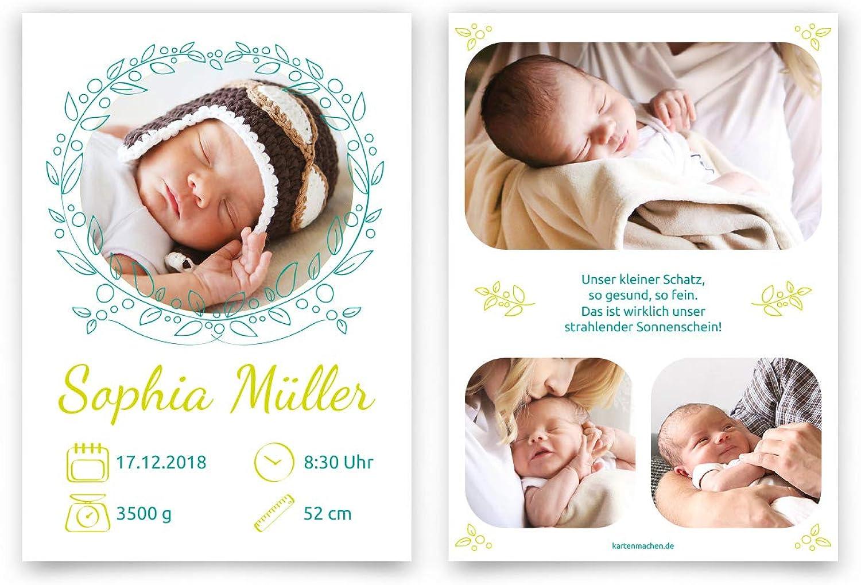 60 x Geburt Danksagungskarten Geburtskarten individuell individuell individuell mit Ihren Fotos und Texten für Mädchen und Jungen DIN A6 - Fotokranz B07M9WBYSJ | Deutschland Shop  00dde6