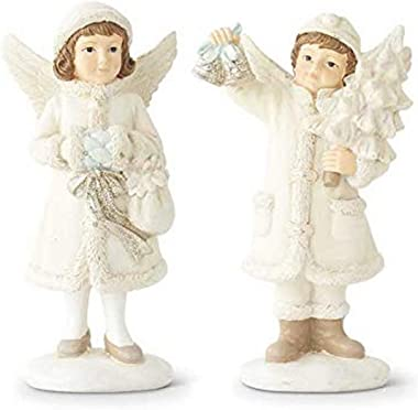 K&K Interiors 53482A Assorted 6 Inch Children Figurines with Angel Wings, Resin