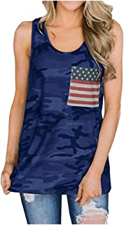 Inlefen Women's Tank Tops American Independence Day Flag Digital Print Pocket Mid-Length Camouflage Vest