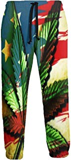 Cannabis Leaf On USA Flag Men's Sweatpants Comfy Jogger Pants with Pockets Lightweight Athletic Pant