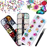 LABOTA 36 boîtes holographiques ongles paillettes ensemble, papillons 3D paillettes ongles paillettes, paillettes couleur sirène, 12 couleurs fleurs séchées nail art design maquillage stickers DIY