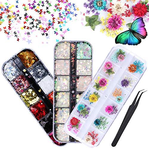 LABOTA 36 Boxen Holographische Nagelpailletten Set, 3D-Schmetterlingsnagel-Glitzer-Pailletten, Meerjungfrau Farbe Pailletten, 12 Farben getrocknete Blumen Nail Art Design Make-up DIY-Abziehbilder