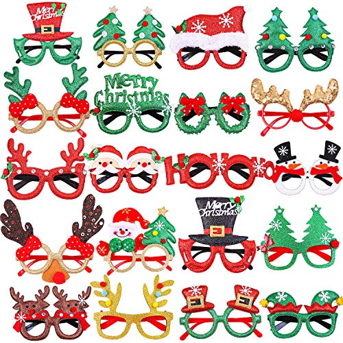 URATOT 20 Styles Christmas Party Glasses Frames Christmas Decoration Eyeglasses Xmas Costume Glasses Frame for Holiday Favors