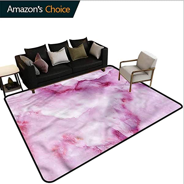 TableCoversHome Marble Solid Area Rug Underpadding Blurry Monochrome Pattern Pattern Printing Carpet Easy Maintenance Area Rug Living Room Bedroom Carpet 2 5 X 9