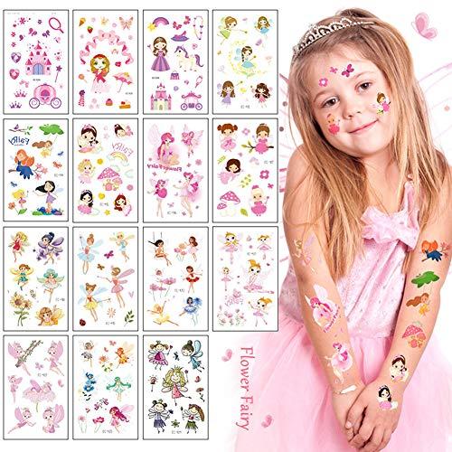 Sunshine smile Tatuaje,Tatuaje De Infantil,Tatuaje para niñas,Tatuajes temporales niños Kits,Tatuaje De Infantil,Tatuaje De Infantil,Etiqueta engomada Impermeable del Tatuaje (Hada de Las Flor
