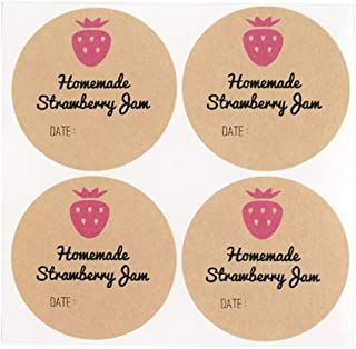 Homemade Strawberry Jam Jelly Mason Jar Labels by Once Upon Supplies, 2.5 Inches Size for Wide Mouth Canning Jars, 40 Pcs