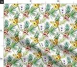 Spoonflower Stoff - Aquarell Hibiskus Blumen Ananas