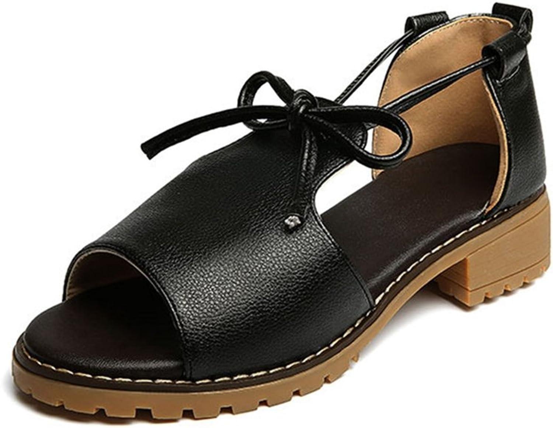 GIY Women's Strappy Low Heel Sandals Peep Toe Chunky Block Heel Bowknot Pump Dress Sandals Black White