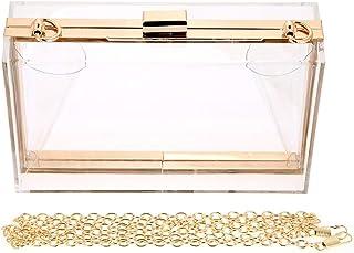 Mujer Moda Transparente Bolso de Hombro Bolso de Crossbody Aleación Correa de Cadena Banquete Bolso de Embrague Caja Playa Sling Bag