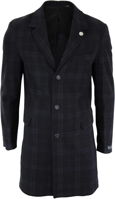 1920s Men's Coats & Jackets History TruClothing.com Mens 3/4 Long Crombie Over Coat Jacket Wool Feel Check Blinders Slim Fit £69.99 AT vintagedancer.com