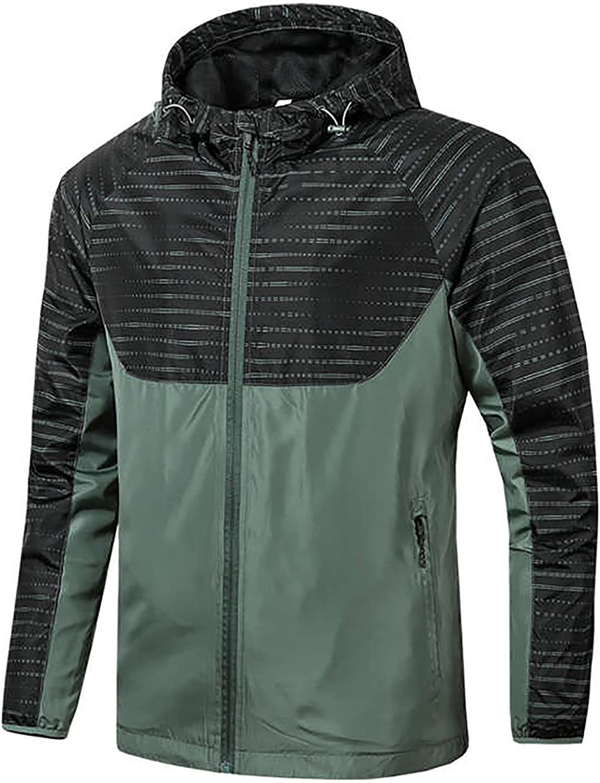 Men's Hooded Raincoat Thin Jacket Waterproof Coat Zipper Long Sleeve Outdoor Jacket Trench