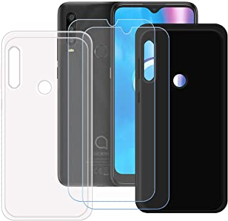 TTJ Svart + transparent fodral för Alcatel 1SE 2020 [2 stycken] HD pansarglas, mobiltelefonfodral silikon skyddande fodral...