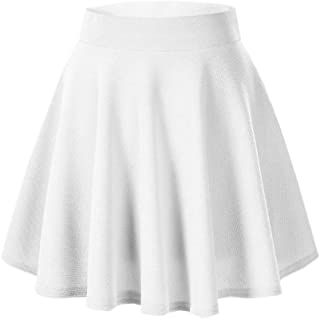 Casual Mini Stretch Waist Flared Plain Pleated Skater Skirt