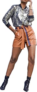 IyMoo Women's Sequin Fitted Long Sleeve Zipper Blazer Bomber Jacket Club Evening Outfits Crop Tops