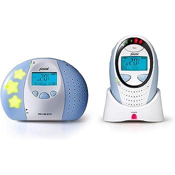 Babyphone Alecto DBX-88 Eco DECT (100% sans interférences) longue portée jusqu'à 300 m. avec fonction interphone, veilleuse, afficheur de température, alarme, afficheur de bruit LED et 5 berceuses intégrées.