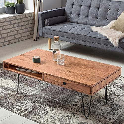 Couchtisch Lira II Akazie Massivholz Edelstahlgestell schwarz braun 120 x 40 x 60 cm Tisch Wohnzimmercouchtisch Beistelltisch Anstelltisch