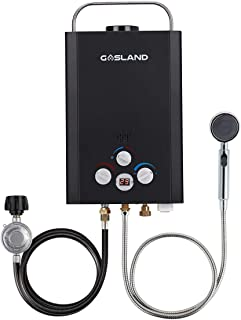 Tankless Water Heater, Gasland BE158B 1.58GPM 6L Outdoor Portable Gas Water Heater, Instant Propane Water Heater, Overheating Protection, Easy to Install, Use for RV Cabin Barn Camping Boat, Black