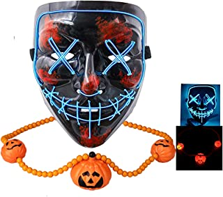 Halloween Mask Scary LED Light Up Mask -with Fun Necklace-for Festival Cosplay Halloween Festival Party