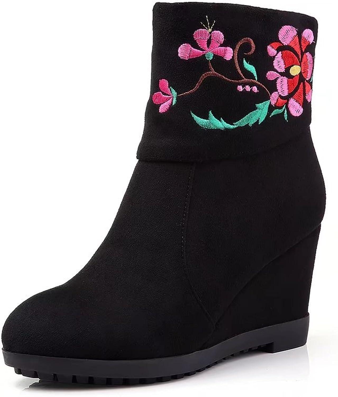 KingRover Women's Fashion Casual Outdoor Zipper Low Wedge Heel Booties shoes