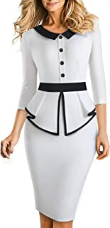 HOMEYEE Elegante Vestido de Oficina Bodycon de Patchwork con Solapa de Manga 3/4 con Solapa para Mujer B558