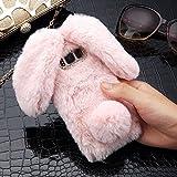 LAPOPNUT für Samsung Galaxy J5 2017 Version Hülle Kaninchen Hülle Hasenohren Serie Handyhülle Kuschelhasen Bunny Design Case niedlich Schutzhülle mit Kristalldiamanten in Rosa