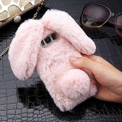 LAPOPNUT für Samsung Galaxy S7 Hülle Kaninchen Hülle Hasenohren Serie Handyhülle Kuschelhasen Bunny Design Case niedlich Schutzhülle mit Kristalldiamanten in Rosa