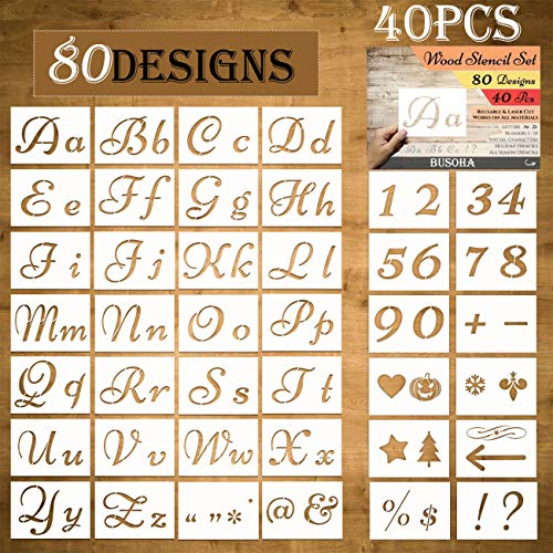 Letter Stencils for Painting on Wood - BUSOHA Alphabet Stencils with Calligraphy Font Upper and Lowercase Letters with Numbers and Signs- Reusable Plastic Art Craft Stencils - 40 Pcs - 80 Designs