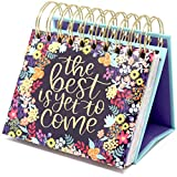 bloom daily planners Undated Perpetual Desk Easel/Inspirational Standing Flip Calendar - (5.25' x 5.5') (The Best is Yet to Come)