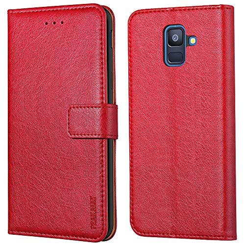 Peakally Handyhülle für Samsung Galaxy A6 2018 Hülle, Premium Leder Flip Hülle Tasche Schutzhülle Brieftasche Klapphülle [Kartenfächer] [Standfunktion] [Magnet] für Samsung Galaxy A6 2018-Rot