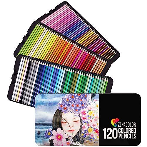 120 Buntstifte mit Metallbox von Zenacolor - 120 einzigartige Farben - Leichter Zugang mit 3 Fächern - Ideales Set für Künstler, Erwachsene