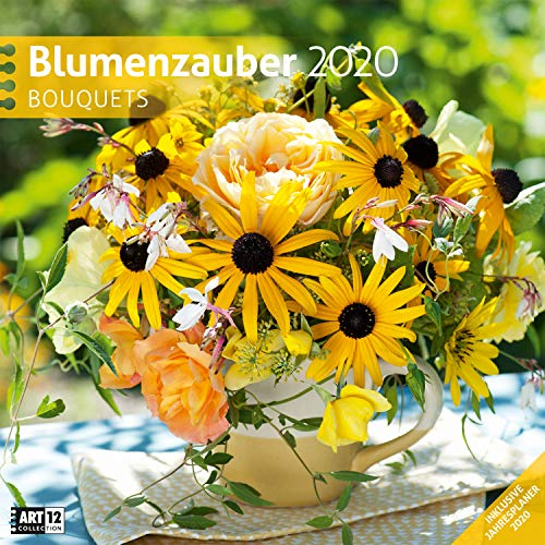 Blumenzauber 2020, Wandkalender / Broschürenkalender im Hochformat (aufgeklappt 30x60 cm) - Geschenk-Kalender mit Monatskalendarium zum Eintragen