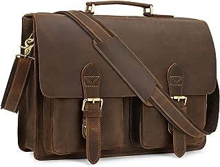 """Kattee Handmade Genuine Leather Satchel Bag 15.6"""" Laptop Briefcase Messenger Bag for Men"""