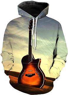 Sudadera con Capucha para Hombre Guitarra Anochecer Anime 3D Impreso Digital Imprimir con Capucha Manga Larga